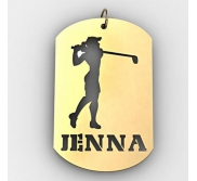 Personalized Female Golfer Name Dog Tag Cut Out Pendant