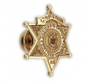 Personalized Sheriff Badge Tie Tack with Number  Rank   Dept