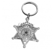 Personalized Sheriff Badge Keychain with Number  Rank   Dept
