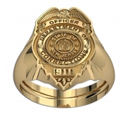 Personalized New Jersey Corrections Officer Badge Ring with Number   Department