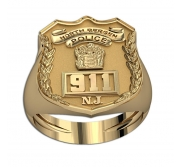 Personalized New Jersey Police Badge Ring with Number   Department