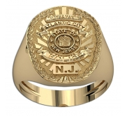 Personalized New Jersey Police Badge Ring with Name   Department
