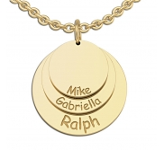 Personalized Round Mother s Three Disc Charm Pendant