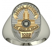 Personalized Los Angeles California Police Badge Ring with Badge Nu