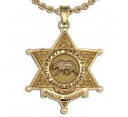 Personalized 6 Point Star Sheriff Badge Necklace or Charm   Shape 2
