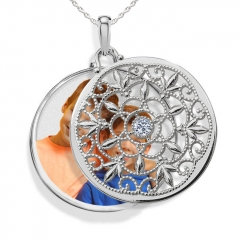 Sterling Silver Swivel Round Photo Locket
