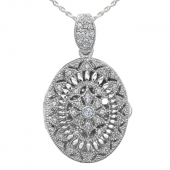 Sterling Silver Cubic Zirconia Oval Photo Locket