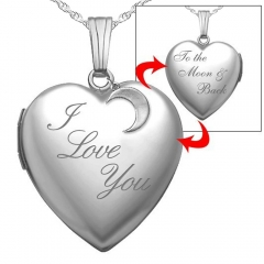 Sterling Silver   I Love You To The Moon   Back  Heart Photo Locket