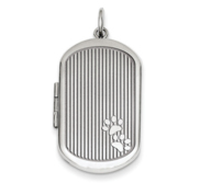Sterling Silver Dog Paw Print Dogtag Locket