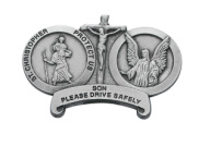 Saint Christopher   Guardian Angel Religious Metal Visor Clip