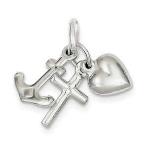 Sterling Silver Faith  Hope   Charity Charm