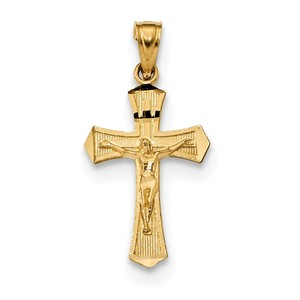 14k Diamond cut Crucifix Pendant