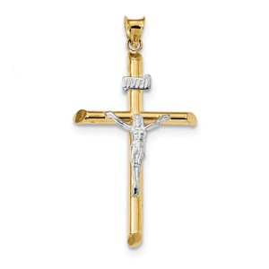 14k Two Tone Polished Jesus Crucifix Pendant