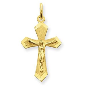 14k Yellow Gold Satin   Diamond Cut Crucifix Charm