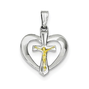 Sterling Silver Rhodium plated Polished Heart with Vermeil Crucifix Pendant
