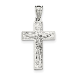 Sterling Silver Polished   Textured Crucifix Pendant