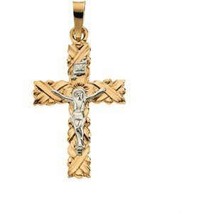 14K Two Tone Gold Crucifix Pendant