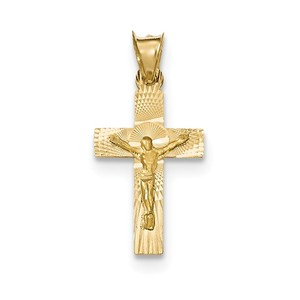 14k Polished Satin and D C Crucifix Pendant