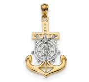 14k w Rhodium Polished Mariners Crucifix Pendant