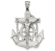 Sterling Silver Polished Mariner Crucifix Pendant