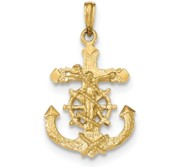 14K Polished   Textured 2 D Mariners Crucifix Rope Wheel Pendant
