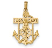 14K Gold Polished   Textured Mini Mariners Crucifix Pendant