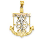 14k Tri color Diamond cut w Textured Mariner  s Cross Pendant