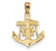 14k Satin Diamond cut Anchor w Crucifix Pendant