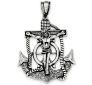 Sterling Silver Antiqued Mariner Cross Pendant