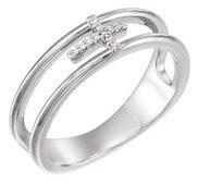 03 CTW Diamond Negative Space Cross Ring