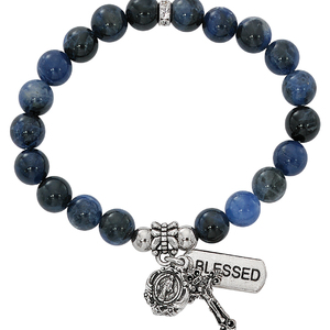 Two Decade Rosary Stretch Bracelet with Simulated Blue Lapis Beads