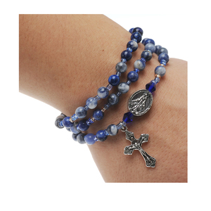 Twistable Full Rosary Bracelet with Simulated Blue Lapis Agate Beads