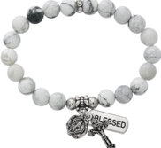 Two Decade Rosary Stretch Bracelet with Simulated Howlite Beads