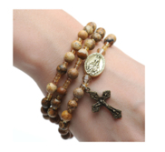 Twistable Full Rosary Bracelet with Simulated Picture Stone Beads