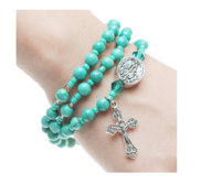 Twistable Full Rosary Bracelet with Simulated Turquoise Beads