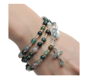 Twistable Full Rosary Bracelet with Simulated India Agate Beads