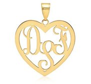 Heart Shaped Vine Script 3 Letter Monogram Cut Out Pendant