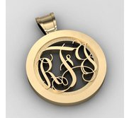 Round Monogram Vine 3 Letter Cut Out Pendant
