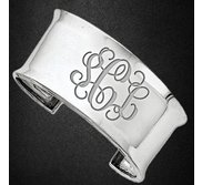 Sterling Silver Fancy Cuff Monogram Concave Bangle Bracelet