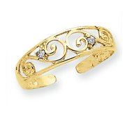 14k Yellow Gold Scroll With  02 Ct Diamond Toe Ring