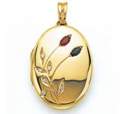 Victor Mayer 18K Gold Diamond Locket With Sapphire   Ruby