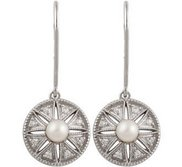 Freshwater Cultured Pearl    04 ct tw Diamond Earrings