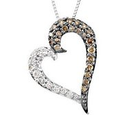 Brown and White Diamond Heart Necklace
