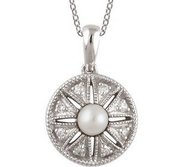 Round Freshwater Cultured Pearl and Diamond Pendant