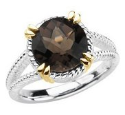 Sterling Silver and 14kt yellow Smoky Quartz Ring