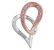 Personalized Sterling Silver Couple s Heart  Pendant w  Pink Sapphires