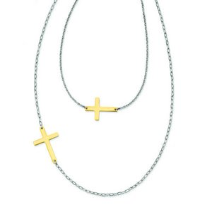 Yellow Plated Stainless Steel Double Sideways Cross Layered Necklace