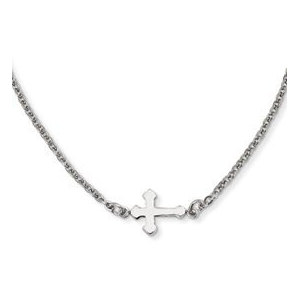 Stainless Steel Polished Sideways Cross 18in Necklace