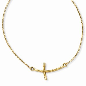 14K Yellow Gold Large Sideways Curved Twist Cross Necklace