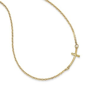 14k Yellow Gold Small Sideways Curved Cross Necklace